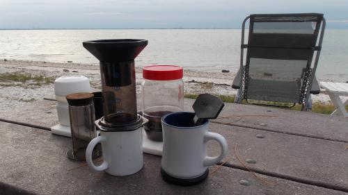 I was up early and had the coffee makins on standby. As soon as I heard Lucy stirring I fired up the Kelly Kettle. Nothing beats coffee brewed in an Aero-Press...